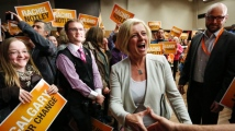 Premier-elect Rachel Notley celebrates the stunning upset that catapulted the Albteran NDP into power. (Photo Credit: CBC)